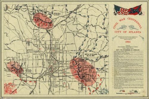 Poster Many Sizes; Map Of Atlanta Civil War Battles Of 1864 Pub 1964