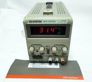 GW INSTEK GPS-3030D LABORATORY 90W DC POWER SUPPLY OUT: 0-30V 0-3A & USER MANUAL
