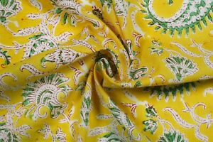 Indian-Hand-Block-Print-Cotton-Natural-Handmade-Paisley-Fabric-Yellow-By-Yard