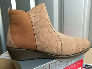 Ladies-Cork-Camel-Nubuck-Leather-Ankle-Boots-Size-8