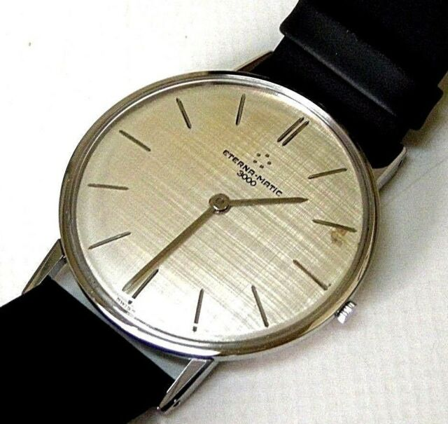 ETERNA-MATIC 3000 CLASSIC VINTAGE 1960 SILVER LARGE SWISS WATCH, GENTS, ST-STEEL