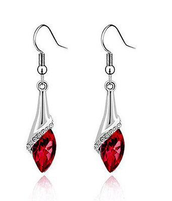 Amazing Silver & Deep Red Angel Eye Tear Drop Dangle Earrings E508