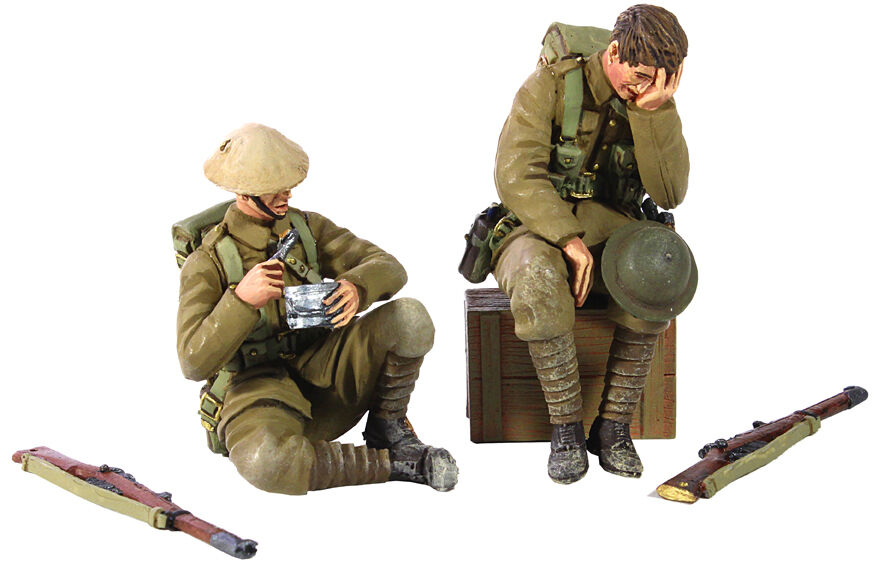 W Britain 23072 Life in the Trenches 1916-17 British Infantry Exhausted - 5 Pc