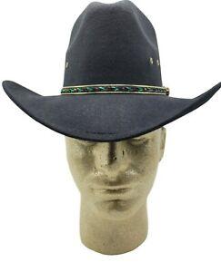 Western Express Black Faux Felt Cowboy Hat Green Band Sizes 6 3/8  6 7/8 New