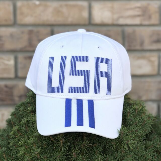 NEW Adidas USA Snapback Hat White Blue Stripes Adjustible One Size Cap  Olympic a744461731e