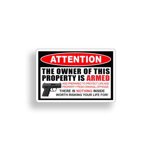 1 Owner Armed Warning Sticker 2nd Amendment Gun Car Vehicle Window Bumper Decal