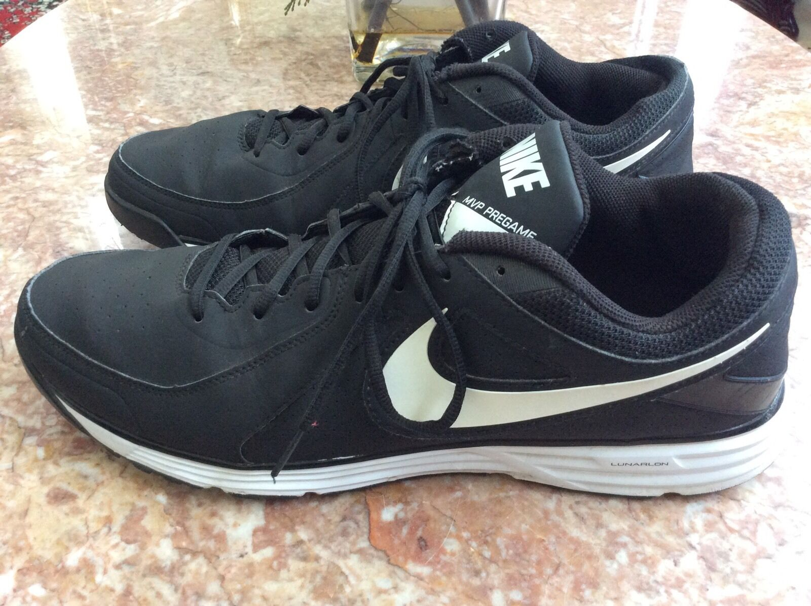 Comfortable and good-looking NIKE LUNAR MVP PREGAME BLACK WHITE SHOES SIZE 15 EUC
