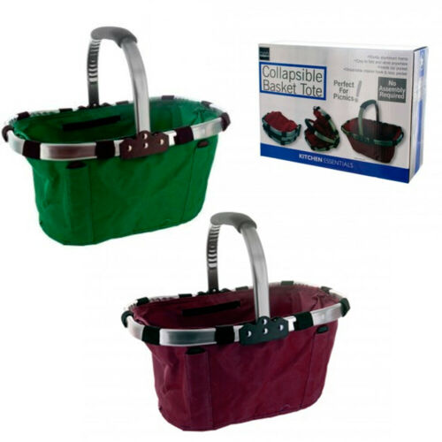 Folding Picnic Basket Portable Lightweight Collapsible Tote Shopping Bag Grocery