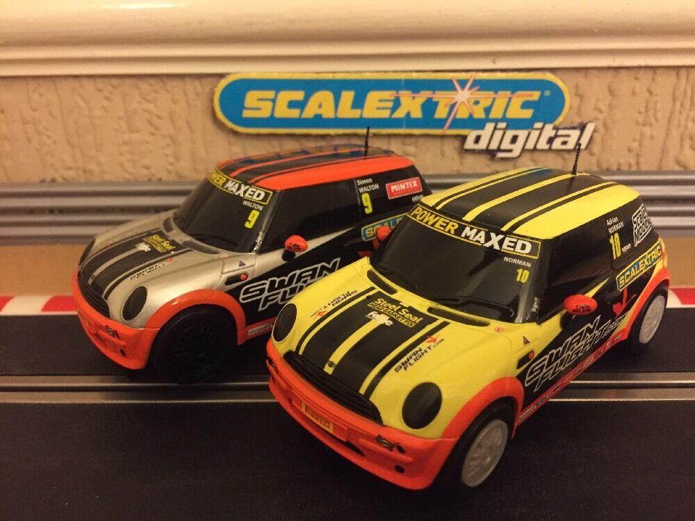 Scalextric Digital Mini Cooper Power Maxed No9 & No10 Brand New