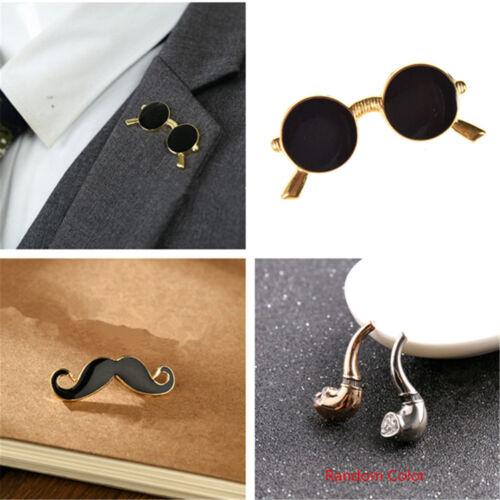Glasses Mustache Tobacco Pipe Brooch Pin Collar Shirt Pins Metal Lapel Fashion