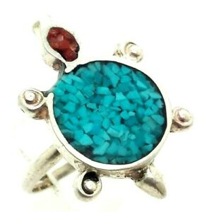 Navajo-Turquoise-Coral-Turtle-Sterling-Silver-925-Ring-4g-Sz-5-5-NEW233