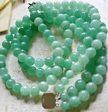 VINTAGE triple strand 10mm Green Apple Aventurine (Jade?) collar Necklace
