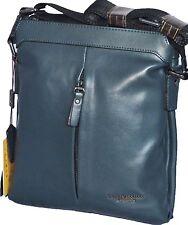 Men Designer Real Leather Vintage Blue Messenger Shoulder Cross Body Bag Medium
