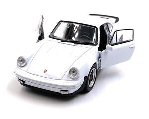 Porsche-911-Turbo-930-Coche-Deportivo-a-Escala-Auto-Blanco-1-3-4-con-Licencia