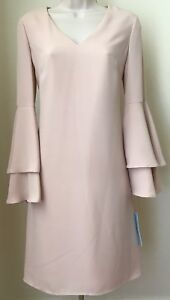 f194239a49e Image is loading Antonio-Melani-Tatiana-Crepe-Bell-Sleeve-Shift-Dress-
