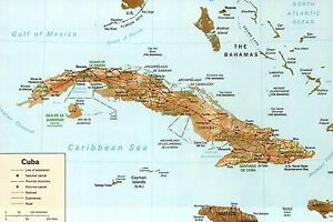 Map of Cuba, Caribbean Sea, The Bahamas, Florida Keys etc ...