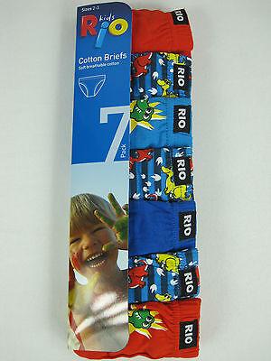 Rio Boys 3 Pack Soft Breathable Cotton Briefs Underwear sizes 4 6 Multi Colour