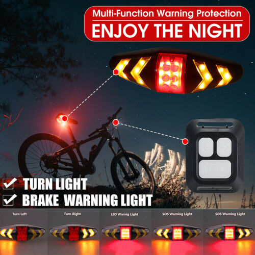 Wireless Bicycle Bike Rear LED Tail Light Turn Signal Taillight Remote Control