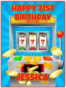 Personalised Casino Slot Machine Vegas Edible Icing