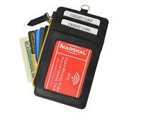 Black Rfid Blocking Safe Leather Men Wallet Case Credit Card Neck Strap Hook