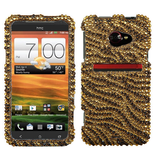 For HTC EVO 4G LTE Crystal Diamond BLING Hard Case Snap On Phone Cover Tiger