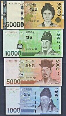 Full Set of 4 notes Pick # 54-57 UNC PCS Korea South 1000-50000 WON