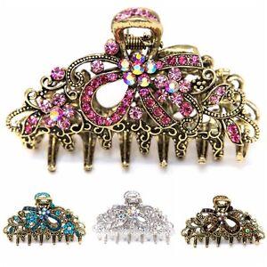Woman-Medium-elegant-silver-metal-bow-rhinestones-crystal-hair-claw-Clip-pin-USA