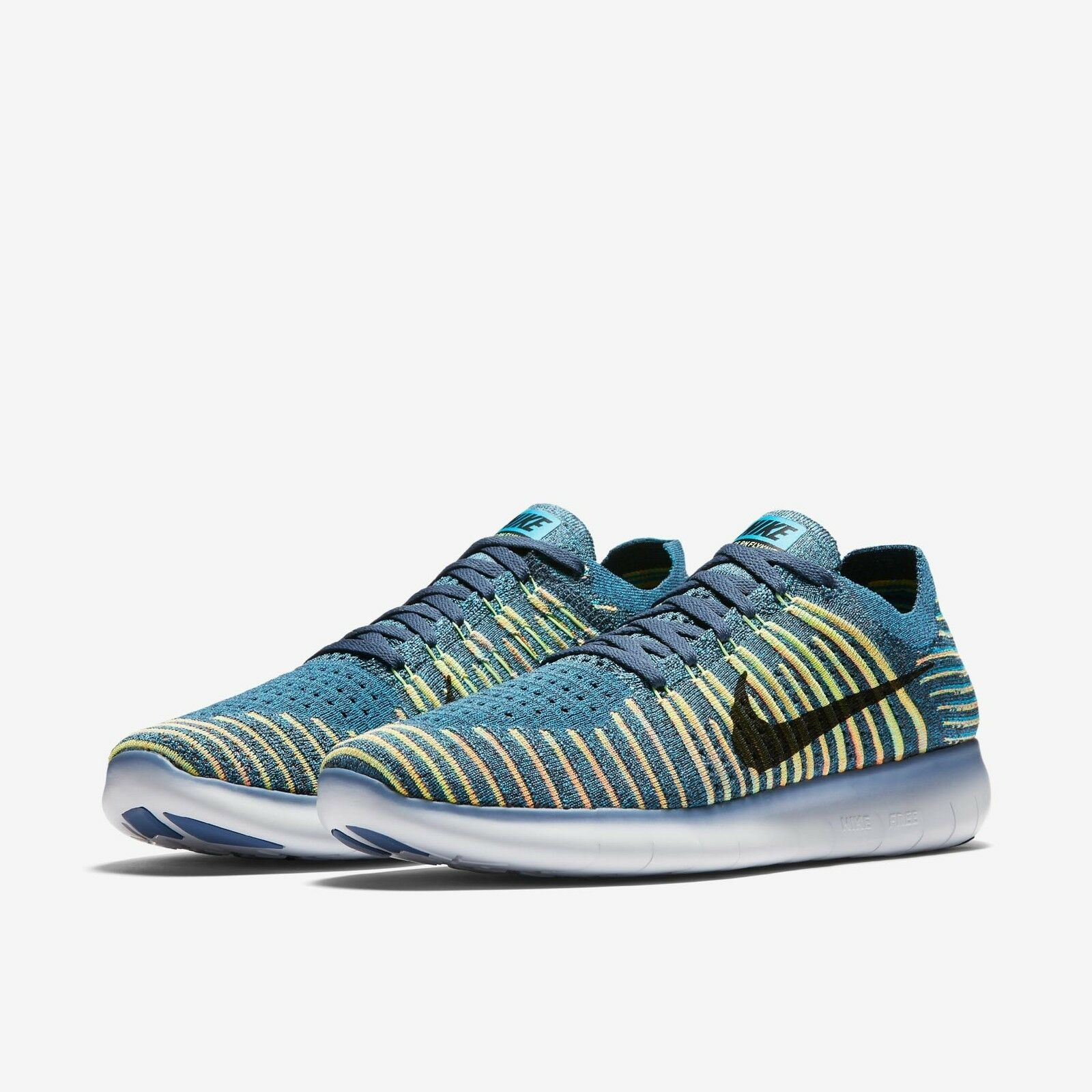 Nike Free Run RN Flyknit Men Squadron/Green/Blue Lagoon/Black 831069-407 Size 7