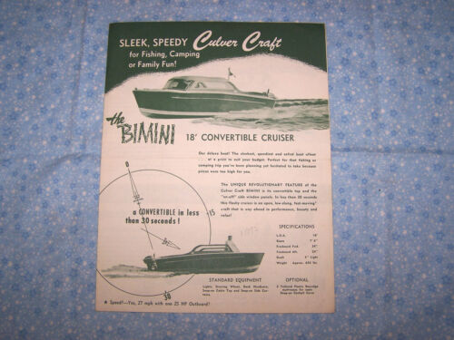 1950's Culver Craft 4 Page Brochure Bimini Skipjack Playboy Mariner Catalina