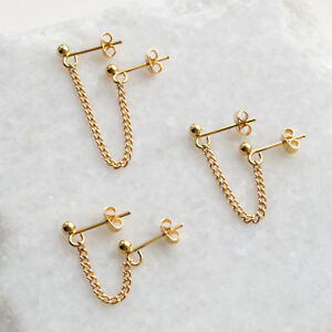 Gold Double Piercing Chain Stud Earring Multiple Lobe Piercing For Two Holes Ebay