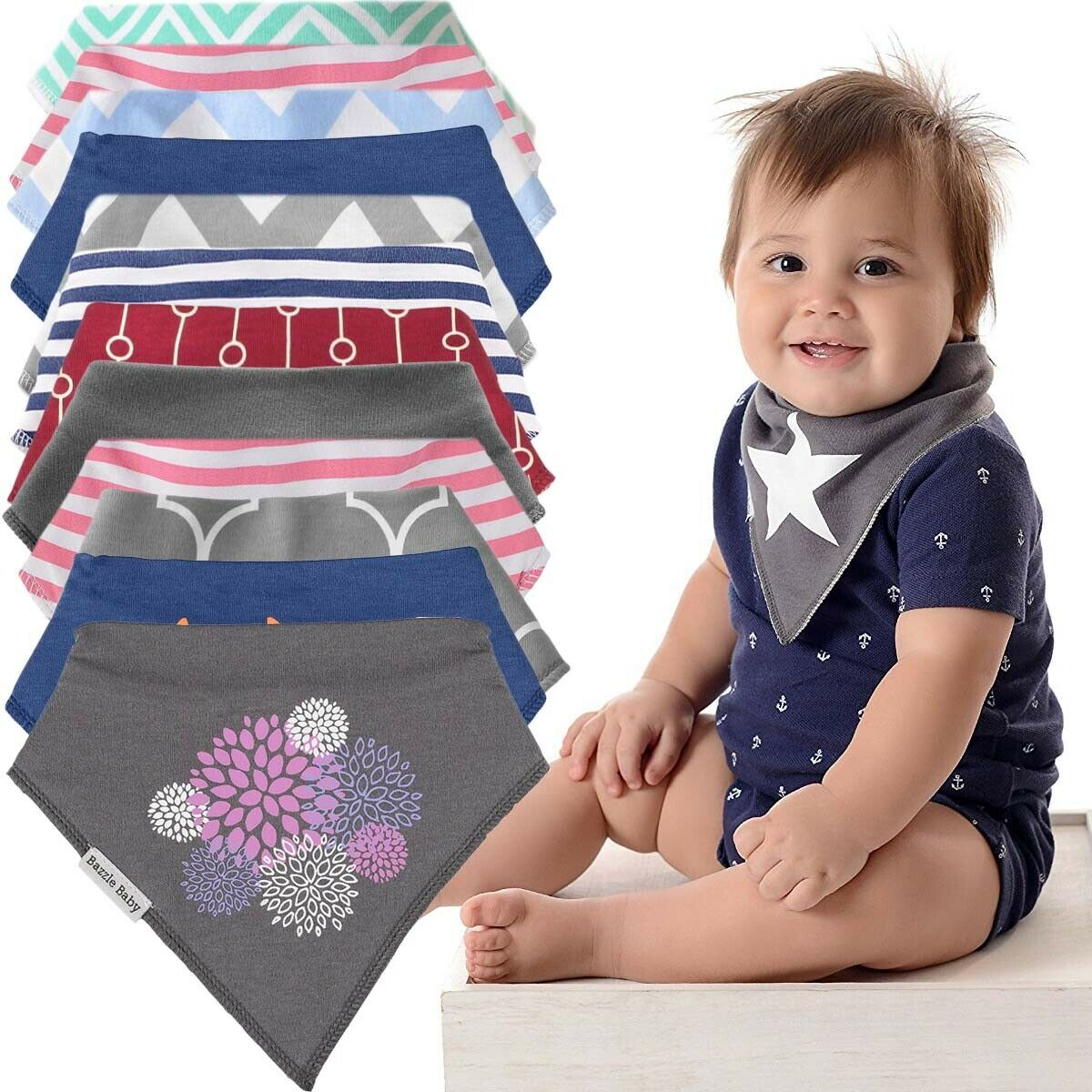 """Baby Bandana Drool Bibs for Drooling and Teething 2-Pack Fashion Bibs Gift Set /""""Audrey/"""" by Copper Pearl"""