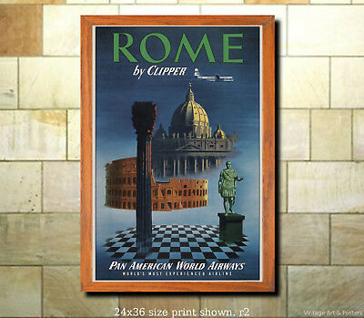 Pan Am Rome #2 6 sizes, matte+glossy avail Vintage Airline Travel Poster