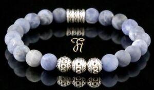 Sodalit-Armband-Bracelet-Perlenarmband-Silber-Beads-blau-matt-8mm