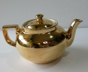 Hall-Golden-Glo-Tea-Pot-22-Carat-Gold-China-Made-In-USA-Vintage-Teapot-Stamped