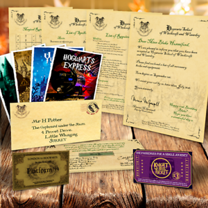 Personalised-PREMIUM-HOGWARTS-PACKAGE-Acceptance-letter-tickets-spells-MORE