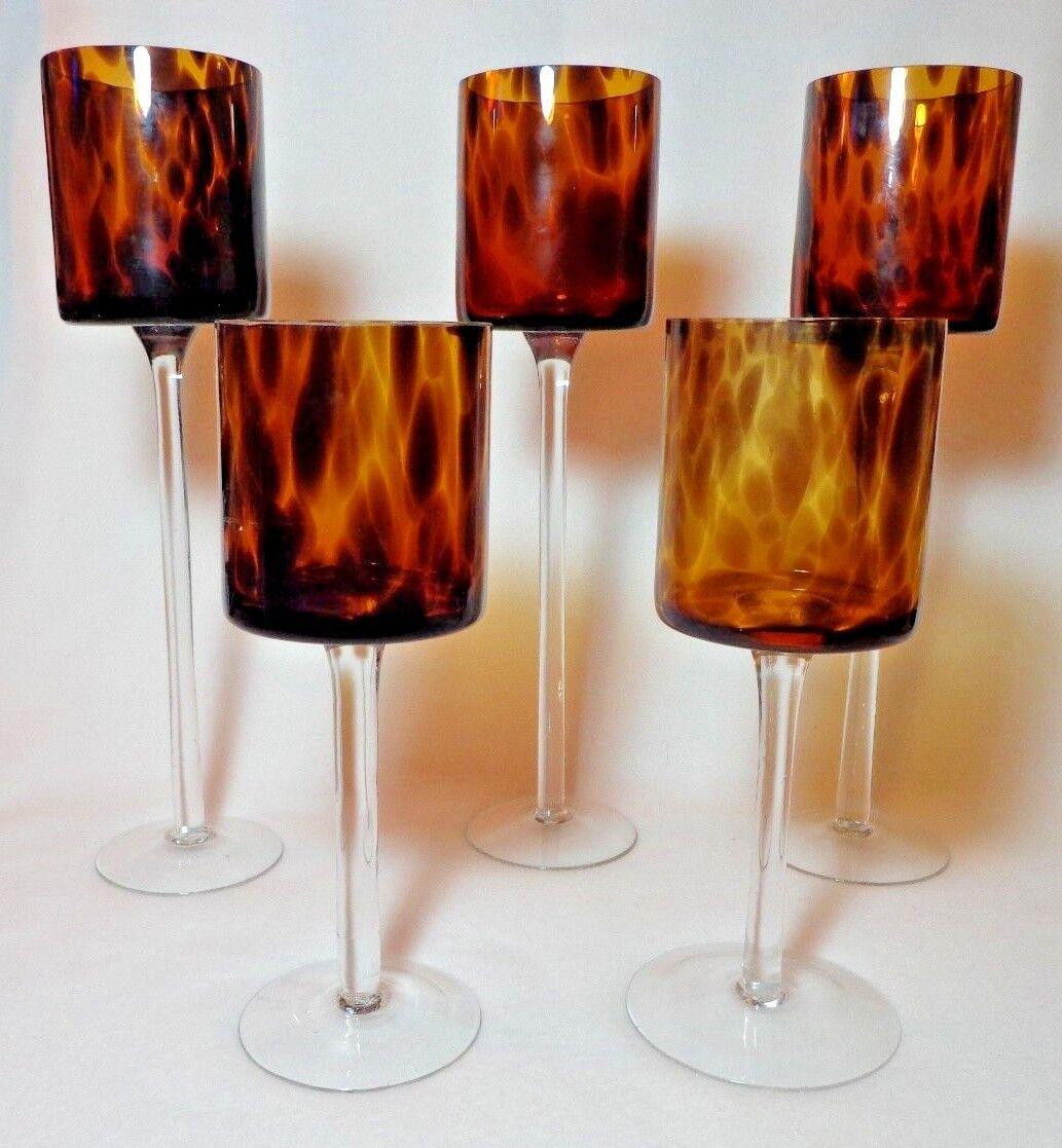 braun Amber Tortoise Glass Hurricane Candle Holders Two 10  Three 13 3 4