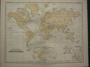 VICTORIAN MAP CHART OF THE WORLD SHOWING OCEAN CURRENTS FORMS - Victorian world map