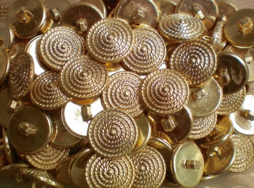 x 23mm 36L Gold Ribbed Cone Dome Shank Costume Craft Plastic Child Buttons W348