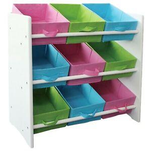 Details zu Kinder Regal + 9 Boxen Standregal Spielzeugkiste  Kinderzimmerregal Kommode weiß