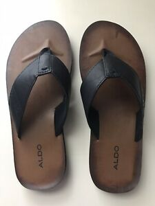 aldo brown and black men's casual flip flops sandal shoes