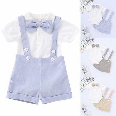 Baby Boy Wedding Formal Suit Bowtie Gentleman Romper Pants Amazing Clothes 0-24M