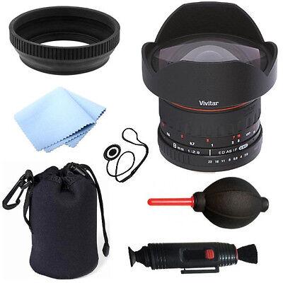 Vivitar 8mm F3.5 Fisheye Lens for Canon + 6pc Bundle Deluxe Accessory Kit