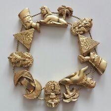 Vintage 50s Gold Tone Pharaoh Egyptian Revival One Row Slide Charm Bracelet RARE