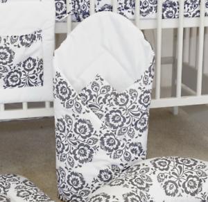 Baby Swaddle Wrap Newborn Couverture Sac de couchage babymam BIG gris étoiles sur blanc