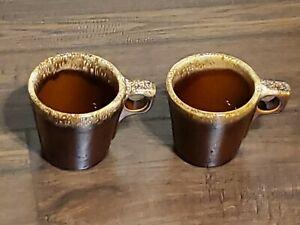Set of 2 Hull USA Brown Drip Glaze Pottery Oven Proof Coffee Mug Cup 10 oz