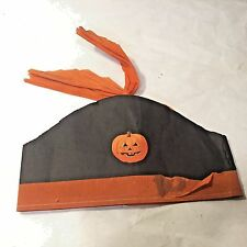 Vtg Early Halloween Crepe Paper Party Sewn Stapled Hat Jack-O-Lantern RARE