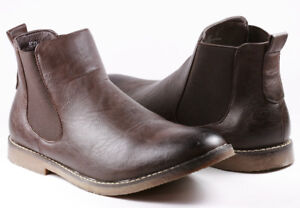 Dark-Brown-Men-039-s-Slip-on-Casual-Fashion-Ankle-Chelsea-Boots-034-PREOWNED-034