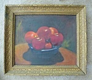 apple art red art apple oil painting apple still life Still life with apple fruits in a vase original oil painting on canvas fruit art