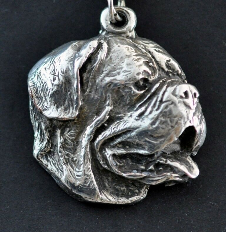 Dogue de Bordeaux - collana collana collana con un cane su una catena d'argentoo Art Dog IT 4f58ec