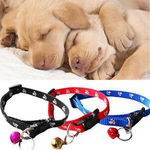 Adjustable Nylon Collar Tinkle Pet Small Dog Puppy Cat Necklet Bell Footprint